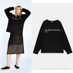 Zara Aristotle Quote Black Crewneck Sweatshirt M